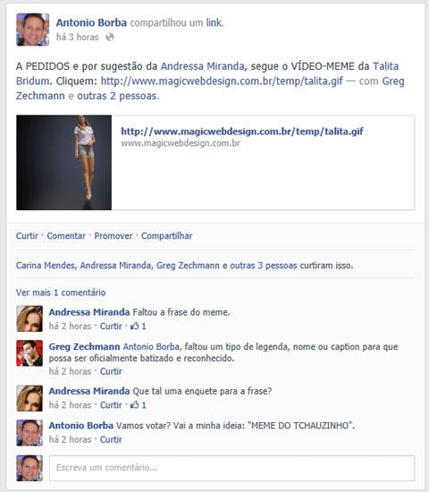 Vídeo Meme da Talita - Exemplo de publicação que ficaria melhor no mural dela - AntonioBorba.com