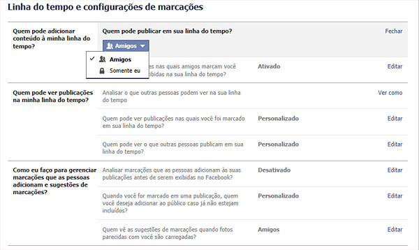 Configurações de Privacidade - Mural do Facebook - AntonioBorba.com