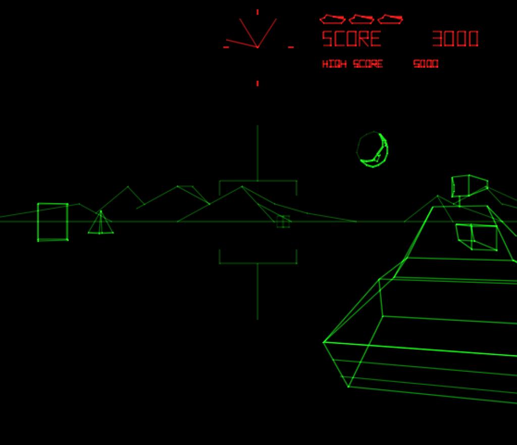 Battlezone: exemplo de monochrome vector com overlay para simular cores